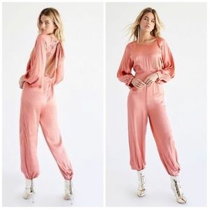 Free People Ordinary Magic Pink Jumpsuit Open Back